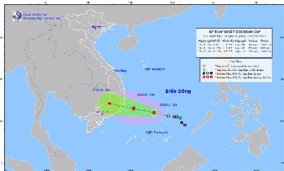 Áp thấp nhiệt đới đang mạnh lên thành bão, hướng thẳng vào khu vực Khánh Hòa-Ninh Thuận