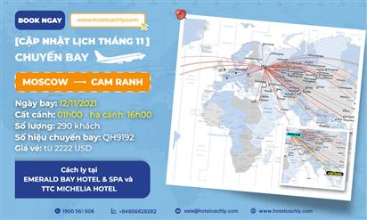 Thông tin chuyến bay ngày 12/11/2021 từ Moscow về Cam Ranh