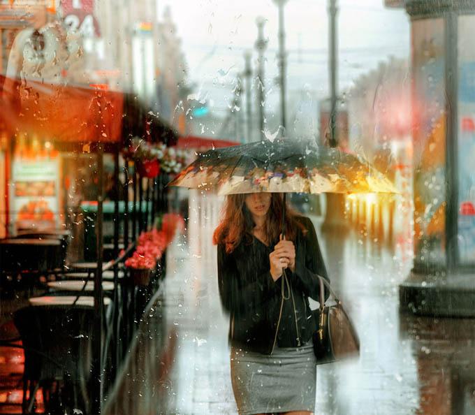 Đường phố Nga dưới mưa lung linh như tranh sơn dầu